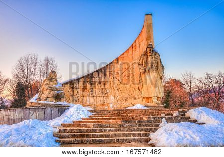 Beautiful stone architecture of the famous Romanian Soldier monument, heroic scene of Baia Mare, Romania