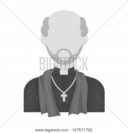 Priest icon in monochrome design isolated on white background. Funeral ceremony symbol stock vector illustration.
