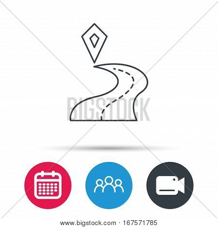 Destination pointer icon. Road location sign. Group of people, video cam and calendar icons. Vector