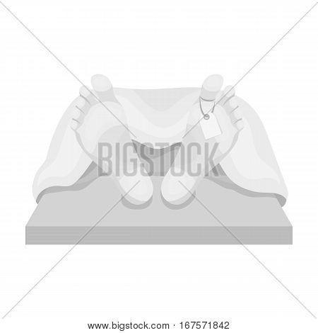Deceased with tag icon in monochrome design isolated on white background. Funeral ceremony symbol stock vector illustration.