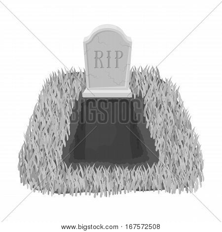Grave icon in monochrome design isolated on white background. Funeral ceremony symbol stock vector illustration.