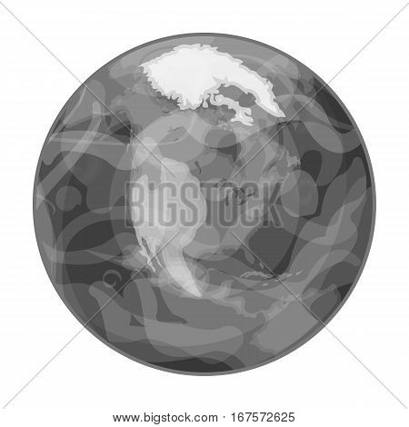 Earth icon in monochrome design isolated on white background. Planets symbol stock vector illustration.