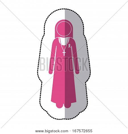 sticker silhouette pink nun with ribbon of breast cancer . Vector illustration