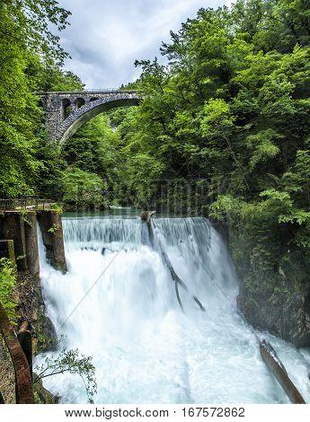 Bridge over the Sum Fall at the Vintgar Gorge, Slovenia