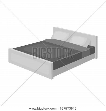 Bed icon in monochrome design isolated on white background. Sleep and rest symbol stock vector illustration.