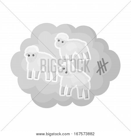 Count sheep icon in monochrome design isolated on white background. Sleep and rest symbol stock vector illustration.