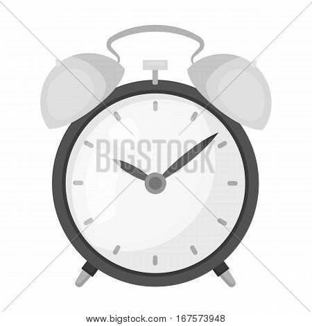 Bedside clock icon in monochrome design isolated on white background. Sleep and rest symbol stock vector illustration.