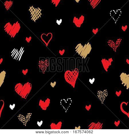 Romantic pattern with hearts. Elements hand-drawn style sketch. Perfect for holidays decoration Valentine's day, packaging, print on fabrics and other. Red, white and gold hearts on black background