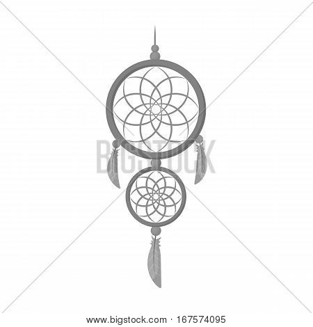 Dreamcatcher icon in monochrome design isolated on white background. Sleep and rest symbol stock vector illustration.