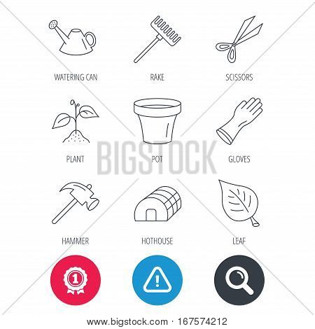 Achievement and search magnifier signs. Sprout plant, scissors and pot icons. Gloves, rake and watering can linear signs. Hothouse, leaf and hammer flat line icons. Hazard attention icon. Vector