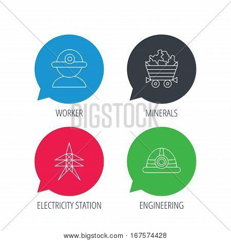 Colored speech bubbles. Worker, minerals and engineering helm icons. Electricity station linear sign. Flat web buttons with linear icons. Vector