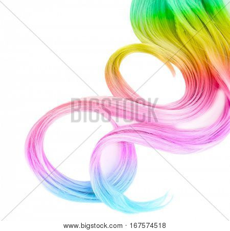 Trendy hairstyle concept. Colorful dyed hair on white background