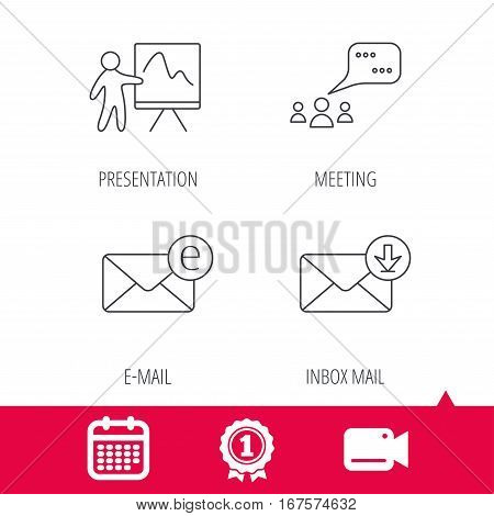 Achievement and video cam signs. Mail, presentation and meeting chat bubbles icons. E-mail linear sign. Calendar icon. Vector