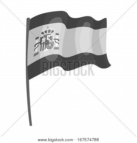Flag of Spain icon in monochrome design isolated on white background. Spain country symbol stock vector illustration.