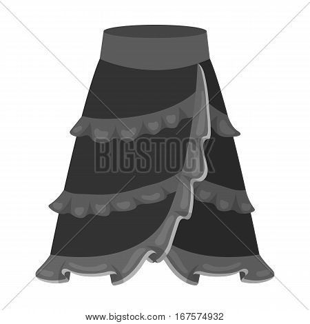 Flamenco skirt icon in monochrome design isolated on white background. Spain country symbol stock vector illustration.