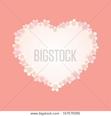 Vector illustration. Heart shaped frame made of pink flowers on a coral background. Place for text on white. Square format.