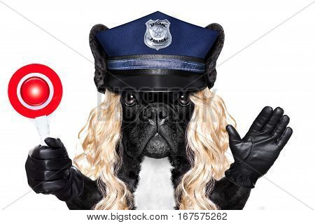 Policeman Or Policewoman With Dog With Stop Sign