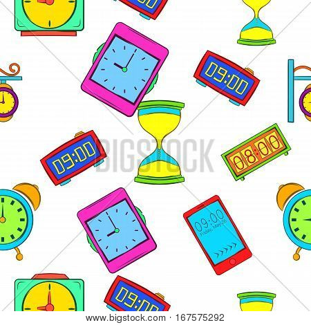 Clock pattern. Cartoon illustration of clock vector pattern for web