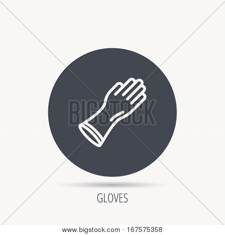 Rubber gloves icon. Latex hand protection sign. Housework cleaning equipment symbol. Round web button with flat icon. Vector