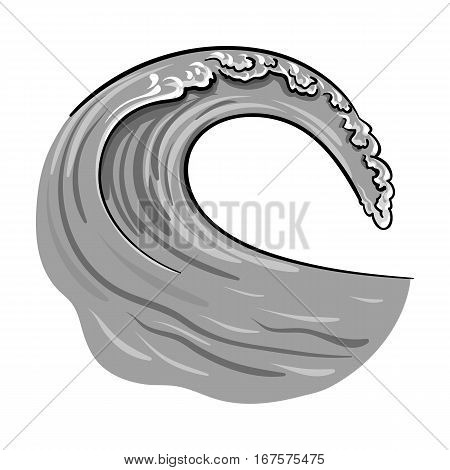 Wave icon in monochrome design isolated on white background. Surfing symbol stock vector illustration.