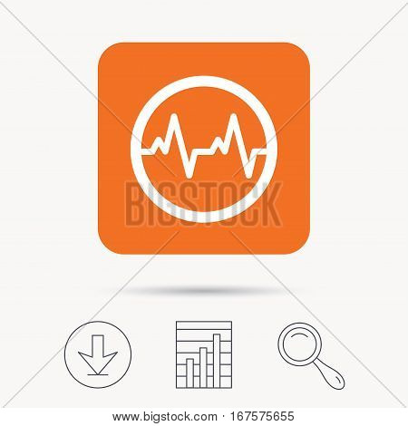 Heartbeat icon. Cardiology symbol. Medical pressure sign. Report chart, download and magnifier search signs. Orange square button with web icon. Vector