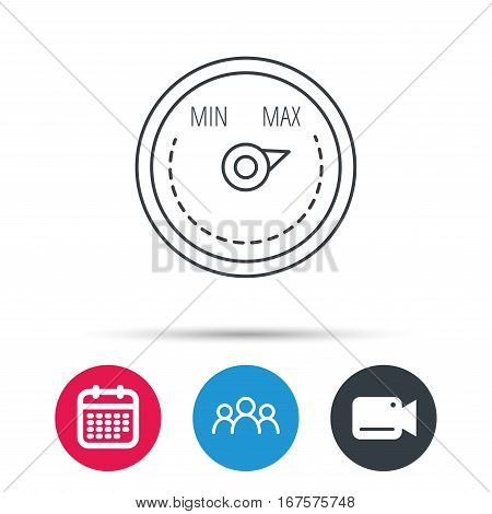 Heat regulator icon. Radiator thermometer sign. Group of people, video cam and calendar icons. Vector