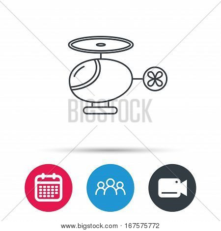 Helicopter icon. Urban air transport sign. Group of people, video cam and calendar icons. Vector