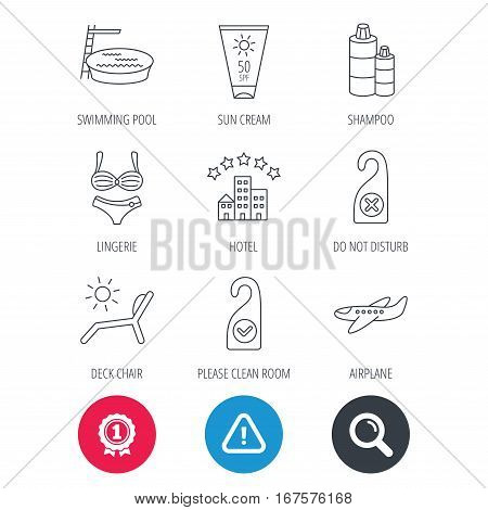 Achievement and search magnifier signs. Hotel, swimming pool and beach deck chair icons. Sun cream, do not disturb and clean room linear signs. Shampoo and airplane icons. Hazard attention icon