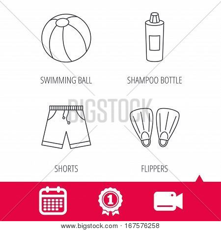 Achievement and video cam signs. Flippers, swimming ball and trunks icons. Shampoo bottle linear sign. Calendar icon. Vector