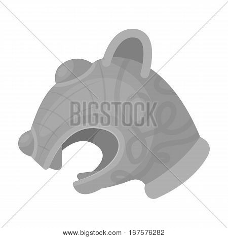 Animal head of viking's ship icon in monochrome design isolated on white background. Vikings symbol stock vector illustration.