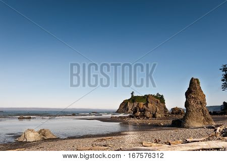 rock and quiet beach at Pacific Ocean in Ruby Beach of Olympic National Park Washington State USA