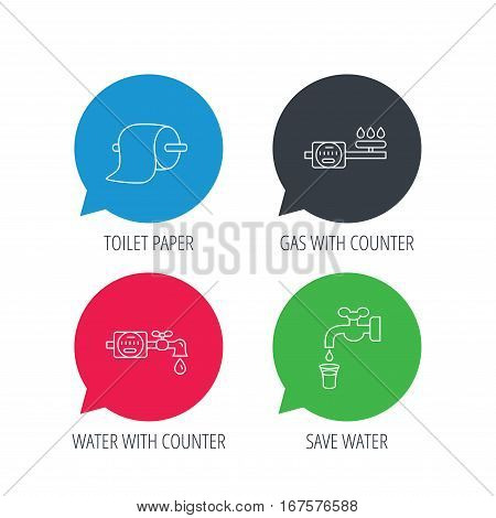 Colored speech bubbles. Toilet paper, gas and water counter icons. Save water linear sign. Flat web buttons with linear icons. Vector