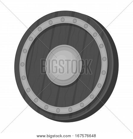 Viking shield icon in monochrome design isolated on white background. Vikings symbol stock vector illustration.
