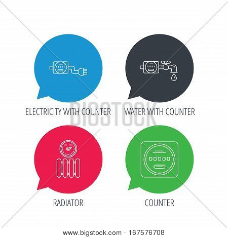 Colored speech bubbles. Electricity, radiator and water counter icons. Counter linear sign. Flat web buttons with linear icons. Vector