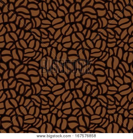 Seamless pattern made up of coffee beans in brown. Vector.