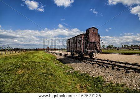 Wagon on railtrack Auschwitz II-Birkenau Museum, Poland