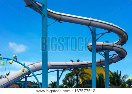 attraction with a water pipe in the aqua park