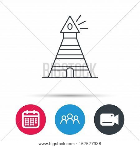 Lighthouse icon. Searchlight signal sign. Coast tower symbol. Group of people, video cam and calendar icons. Vector