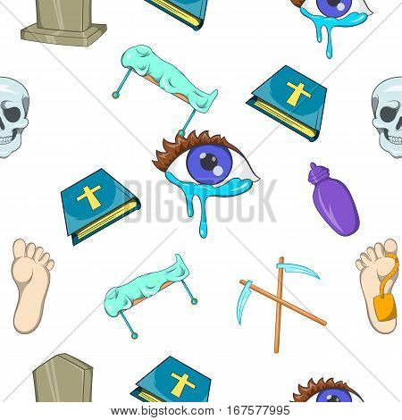 Funeral services pattern. Cartoon illustration of funeral services vector pattern for web