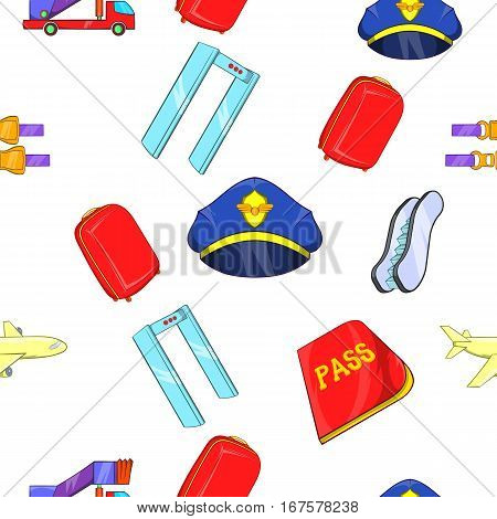 Check in at airport pattern. Cartoon illustration of check in at airport vector pattern for web