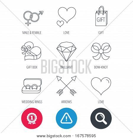 Achievement and search magnifier signs. Love heart, gift box and wedding rings icons. Bow and engagement linear signs. Valentine amour arrows, brilliant flat line icons. Hazard attention icon. Vector