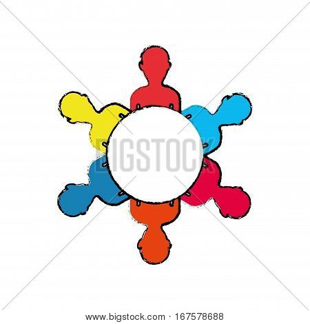 Teamwork people silhouette icon vector illustration graphic design