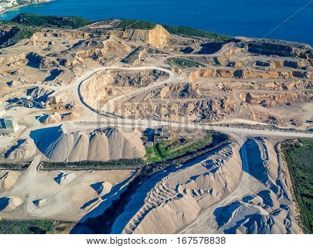 Aerial View Of Open Pit Sand Quarries