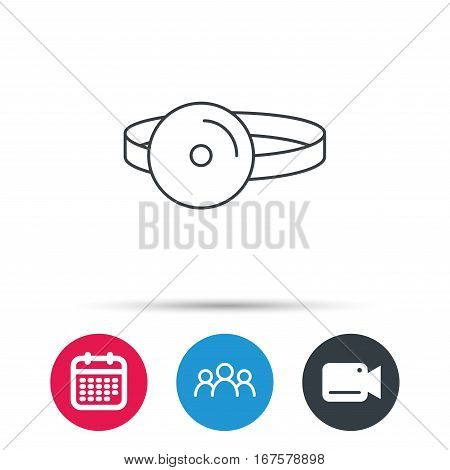 Medical mirror icon. ORL medicine sign. Otorhinolaryngology diagnosis tool symbol. Group of people, video cam and calendar icons. Vector