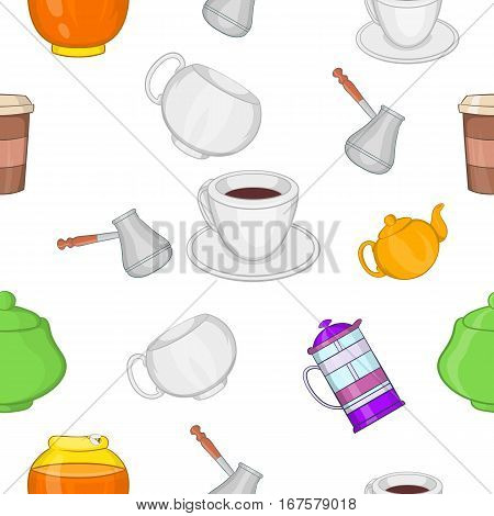 Beverage pattern. Cartoon illustration of beverage vector pattern for web