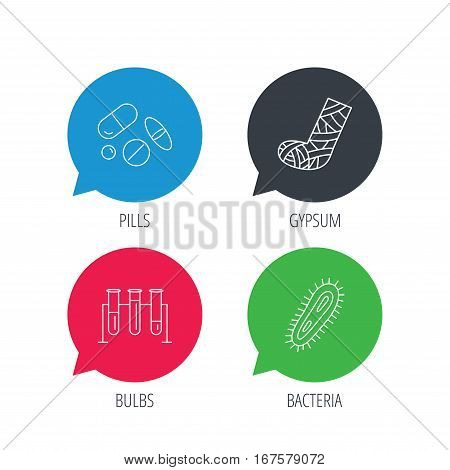 Colored speech bubbles. Broken foot, bacteria and medical pills icons. Lab bulbs linear sign. Flat web buttons with linear icons. Vector