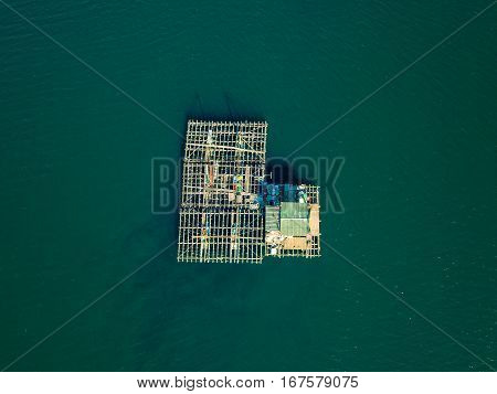 Aerial View Of Farm On Cultivation Of Seashells