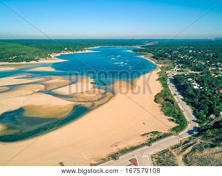 photo of Aerial View Lagoa de Albufeira Portugal