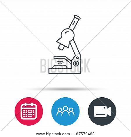 Microscope icon. Medical laboratory equipment sign. Pathology or scientific symbol. Group of people, video cam and calendar icons. Vector