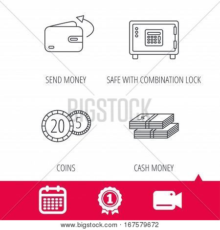 Achievement and video cam signs. Coins, cash money and wallet icons. Safe box, send money linear signs. Calendar icon. Vector
